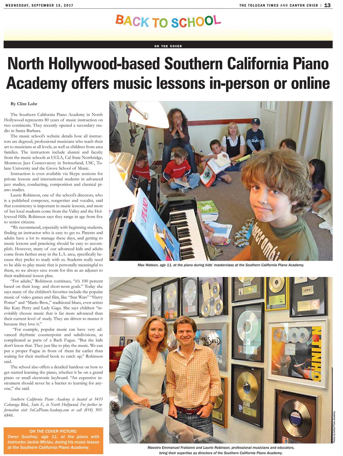 SoCal Piano Academy in Tolucan Times